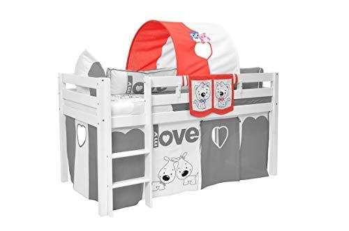 Tunnel voor hoogslaper tunnel voor hoogslaper en stapelbedden, tunnel boog tent opbergen grot bed tent beddak speeltunnel voor kinderbed 100% katoen stapelbed hoogslaper speelbed kleur: rood / wit