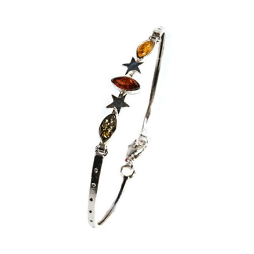 Mehrfarbiger Bernstein Sterling Silber Sterndesign Armband 19 cm