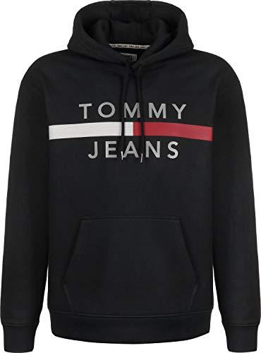 Tommy Jeans Langarm Hoodie Kapuze Schrift-Print schwarz Größe XXL