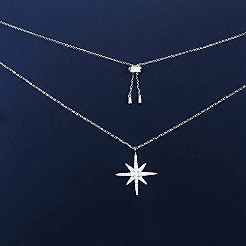 MIKUAM collarChe Plata esterlina Nueva luz de Lujo Palabra de arroz Collar en Forma de Estrella Moda Femenina Cadena de clavícula de Estrella de Seis Puntas