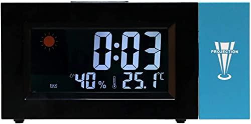 angelHJQ Retroiluminación LED, pantalla digital con retroiluminación LED, pantalla de colores, reloj meteorológico, previsión meteorológica, reloj despertador, reloj giratorio de temperatura, humedad
