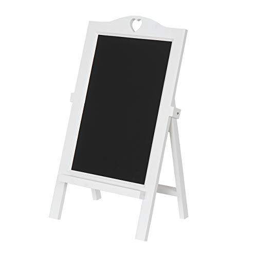 Mendler Werbetafel HWC-E51, Aufsteller Kreidetafel Kundenstopper Dekotafel, 66x39x33cm ~ weiß lackiert