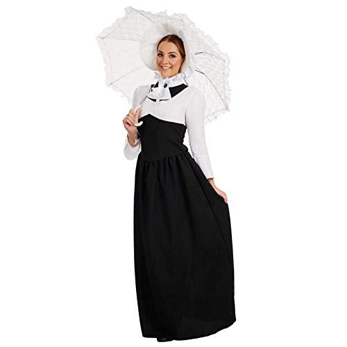 Fun Shack Disfraz de dama victoriana para mujer. Conjunto con vestido histórico blanco y negro para adulto, talla XXL