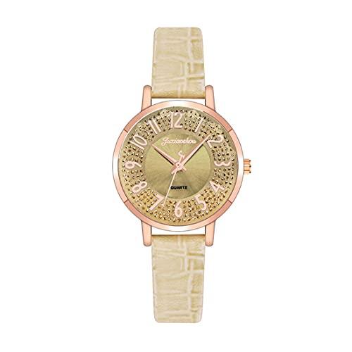 CXJC Rhinestone Digital Rhinestone Dial Dames Watch. Cuero + Material de aleación. 10 Colores Disponibles (Color : UN)