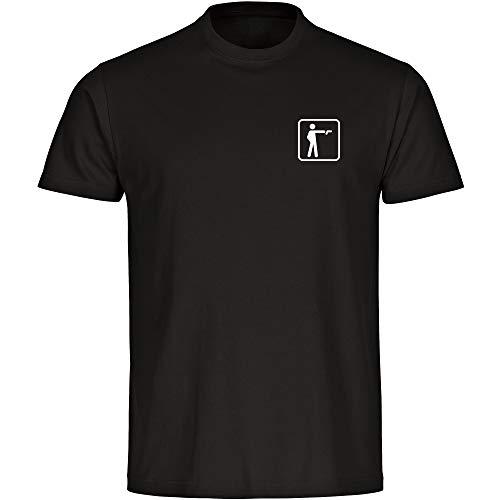 T-Shirt Schießen Pistolen Schütze Piktogramm auf der Brust schwarz Kinder Gr. 128 bis 164 - Shirt Trikot Sportshirt Logo, Größe:128