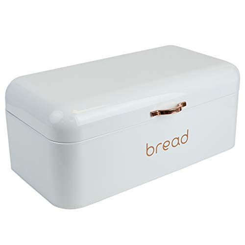Home Basics Grove Box for Kitchen Counter Dry Food Storage Container, Bin, Store Bread Loaf, Dinner Rolls, Pastries, Baked Goods & More, RETRO WHITE