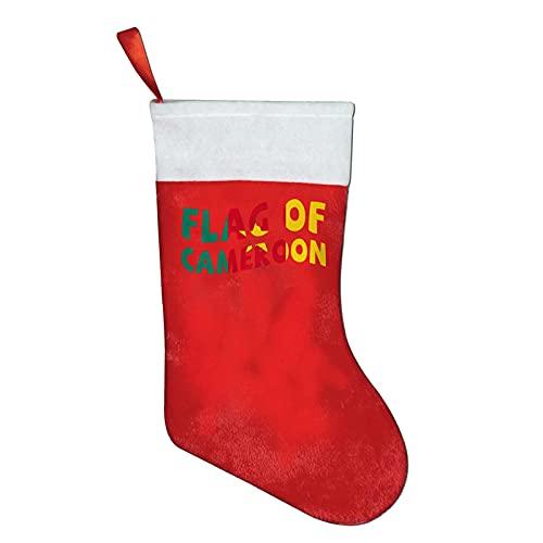 Weihnachtsstrümpfe, Flagge von Kamerun, für Kinder, klassisch, personalisierbar, groß, Weihnachtsstrumpf, Dekoration für Familie, Urlaub, Dekoration, Weiß / Rot