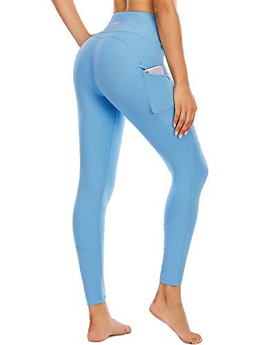 FAFAIR Leggings dam joggingbyxor med fickor hög midja fitness tights byxa yoga byxor ogenomskinliga...