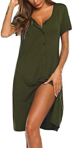 Ekouaer Women s Nightshirt Short Sleeve Button Down Nightgown V Neck Sleepwear Pajama Dress product image
