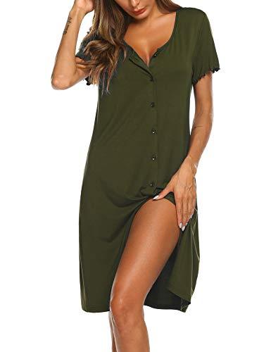 Ekouaer Women's Nightshirt Short Sleeve Button...