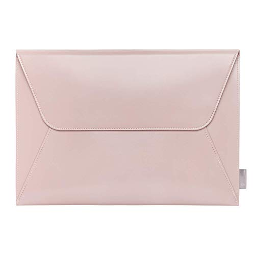 Comfyable Leather Laptop Sleeve 13-13.3 Inch Compatible for 13 Inch MacBook Pro & MacBook Air - PVC Leather Envelope Sleeve Computer Case for Mac, Pink