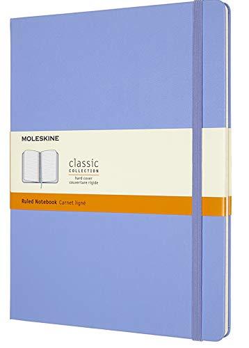 Moleskine Carnet Classique Ligné, Couverture Rigide et Fermeture Elastique, Extra Large 19 x 25 cm, Bleu Hortensia, 192 Pages