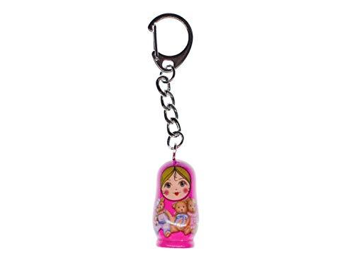 Miniblings Babuschka Schlüsselanhänger Matroschka Puppe Russland Holz Rosa Pink - Handmade Modeschmuck I I Anhänger Schlüsselring Schlüsselband Keyring