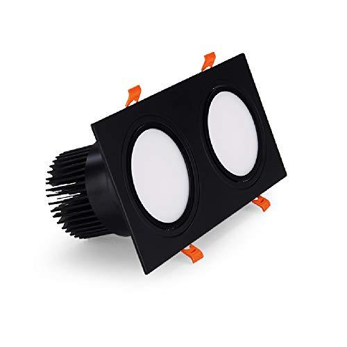 2-luces empotradas Flush Focos metal duminio montado techo lámpara ahorro de energía de panel plano comercial Embedded integrado Montaje proyectores del techo sala Grille Panel de luz LED (Negro)
