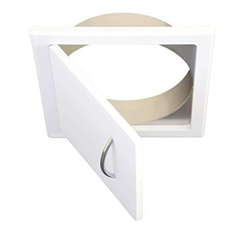 Wäscheschacht Türe in MDF-weiß - Anschluß eckig od. rund für Wäscheabwurf od. Wäscherutsche (Anschluß rund, Durchmesser für 300mm Rohr)