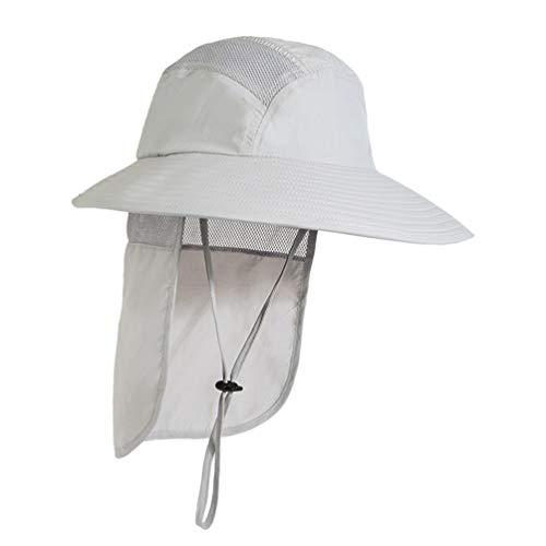 HEALLILY Zonnehoed Vismuts Zomerhoed Zonbescherming Uv-Beschermkap Nek Zonnehoed Vizier Zonnekap Voor Dames en Heren (Lichtgrijs) 1Pc