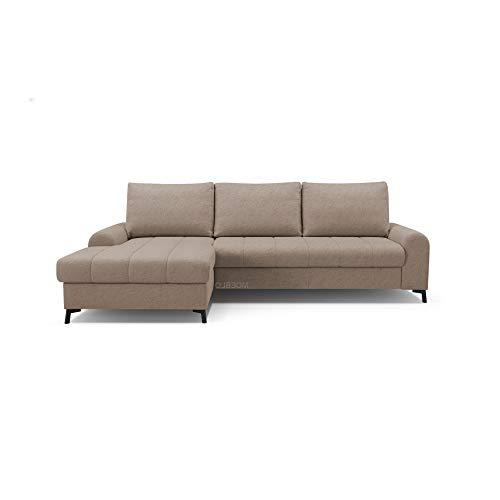 mb-moebel Ecksofa mit Schlaffunktion Eckcouch mit Bettkasten Sofa Couch L-Form Polsterecke Delice (Cappuccino, Ecksofa Links)