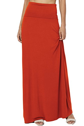 TheMogan Women's Casual Solid Draped Jersey Relaxed Long Maxi Skirt Copper L