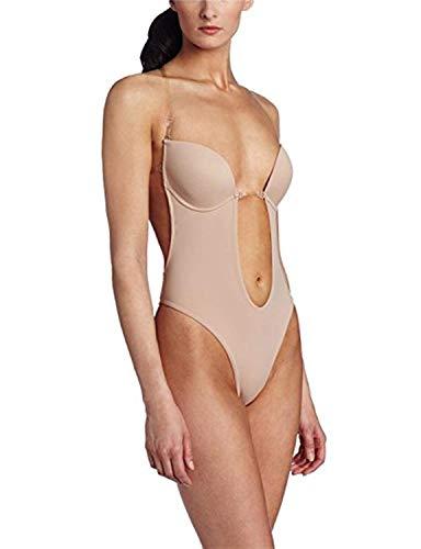 Burvogue Body para mujer sin espalda profunda en V - beige - S