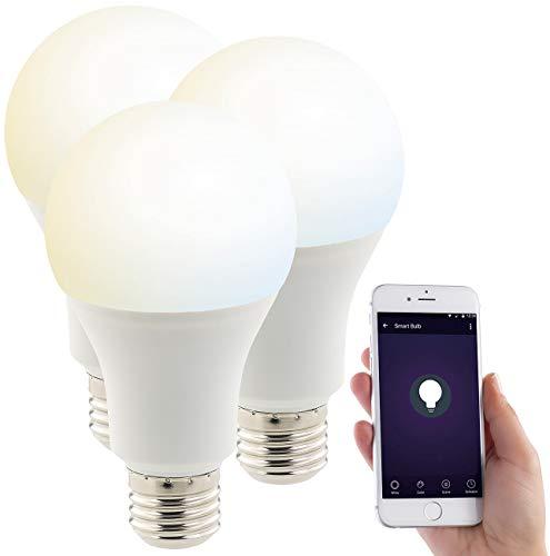 Luminea Home Control Alexa Lampen: 3er-Set WLAN-LED-Lampen, mit Sprachsteuerung, E27, 1.050 lm, CCT (Funk Lampen)