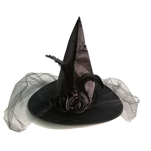 Sombrero de bruja con velo y pluma