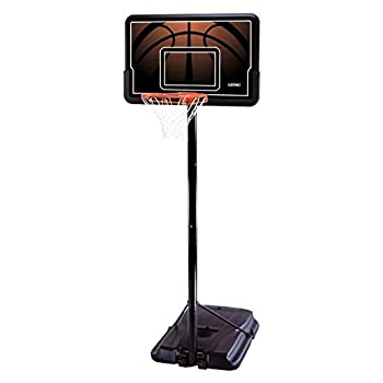 Lifetime 90040 Height Adjustable Portable Basketball System 44 Inch Backboard Black/Orange