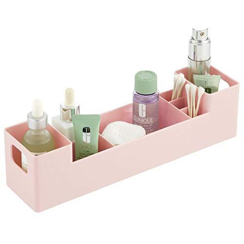 mDesign - Medicijndoos - pillendoos/organizer - voor de badkamer - voor medicijnen, vitamines of pleisters - met handvatten aan de zijkant/7 compartimenten/stapelbaar/BPA-vrij plastic - lichtroze