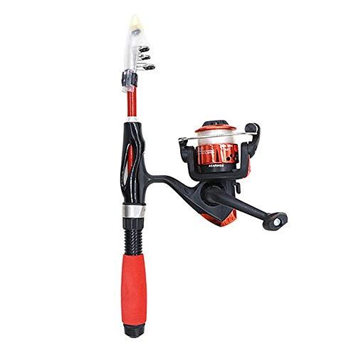 HJUI Mini caña de Pescar telescópica, cañas de Pescar telescópicas con Caja de Cebo de Carrete Kit de caña de Pescar portátil para niños