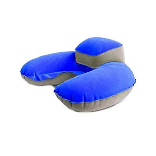 Gonflable Voyage Neck Pillow Cou Pliable Repos Support en Forme De U Cou Set Oreiller avec des Bouchons d'oreille Et Masque pour Les Yeux pour Les Voyages, Bureau Et L'école Napping-1pcblue