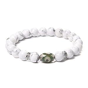 CHJJHH Perlen Armband Grüne Natürliche Tibetische Dzi Achate Charm Armbänder Verstellbare Vintage Schwarz Geflochtenen Armband Schmuck Für Frauen Männer B 21Cm