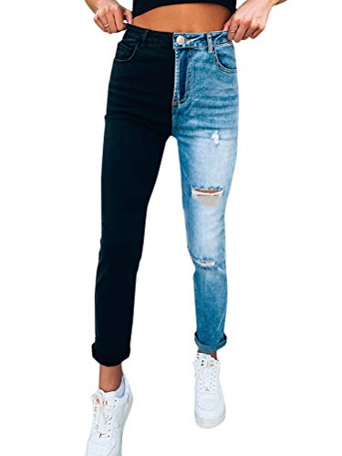 Onsoyours Damen Patchwork Jeans High Waist Stretch Cutoffs Distressed Straight Leg Denim Jeans Hose Harajuku Vintage Boyfriend Jeans Freizeithose Stil 02 S