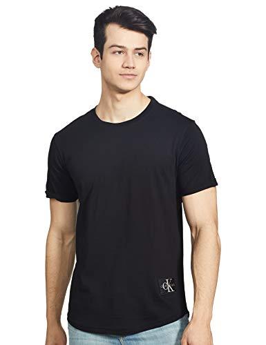 Calvin Klein Jeans Herren Badge Turn Up Sleeve Hemd, Schwarz, L