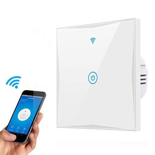 Wifi Smart Lichtschalter, MAMYOK 1-Weg WLAN In-Wall gehärtetes Glas Touchscreen-Schalter, arbeitet mit Amazon Alexa und Google Home, Überlastungsschutz, Timing-Funktion (1-Weg N Wire Needed)