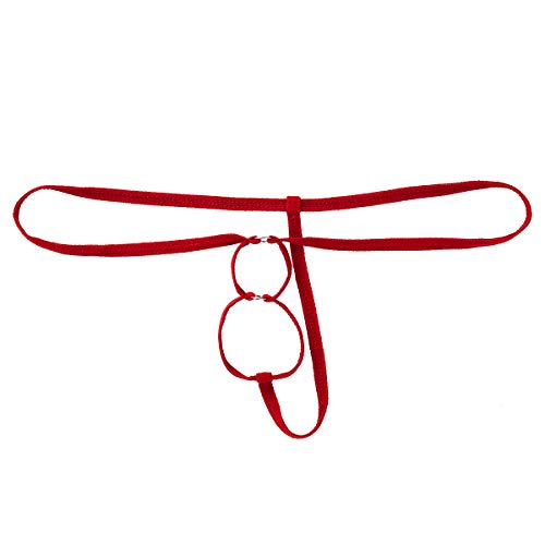 YiZYiF Herren Tanga G-String Ouvert Unterhose mit O-Ring Löcher Männer Mini Bikini Slips Bade String Low Rise Erotische Wäsche Rot One Size