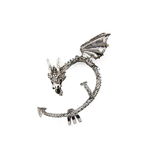 Naicasy 1pc Juego de Tronos Manguito del oído del dragón del Pendiente del Abrigo gótico Punky del Estilo del Metal de la Vendimia del Clip del oído de Plata -Antique