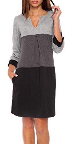 Glamour Empire. Damen Etuikleid mit horizontalen Streifen und Taschen. 303 (Black & Grau, EU 38/40, S/M)