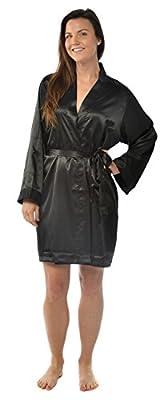 Leisureland Elastic Satin Charmeuse Knee-Length Kimono Robe