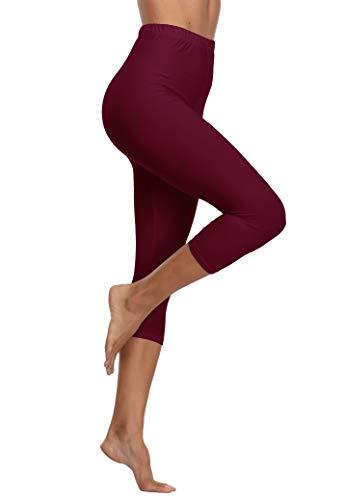 LIGHTBACK Women's Workout Running Capris Leggings Elastic Waist Yoga Pants High Waist Tights