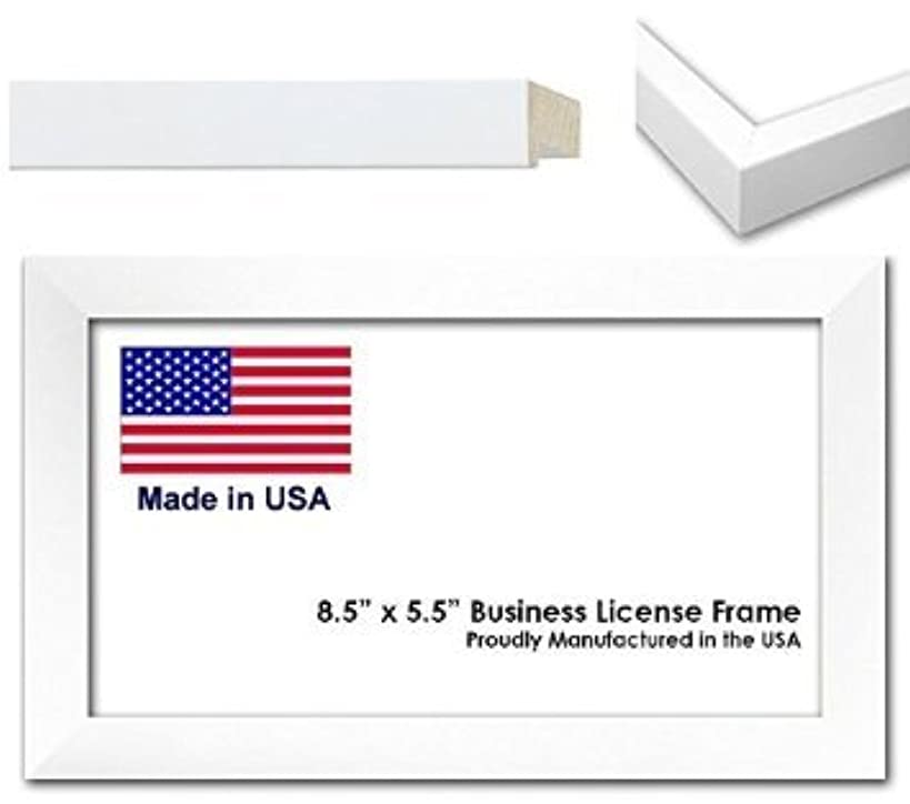 8.5 x 5.5 Inch Professional Business License Frame - White Wood