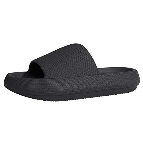 EQUICK Men and Women Shower Pool Sandals Slippers with Ergonomic Pelvic Floor Cushioned Extra Thick Waterproof Anti-Skid Bathroom Slippers Open Toe House SlippersU220SYSTX-New.Aurora Black1-40-41