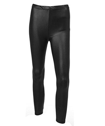 Mieuid dameslegging zwart stretch kunstleer PU-leer chic elastische leggings slanke broek High Waist lederlook panty treggins latex look S