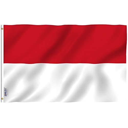 Anley Fly Breeze 3x5 Feet Bandiera Monaco - Colore vivido e Resistente allo sbiadimento UV - Intestazione in Tela e Doppia Cucitura - Principato di Monaco Bandiere Poliestere con passacavi