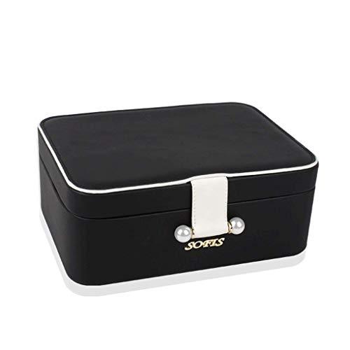 Caja de joyería 220 * 160 * 85mm Caja de Almacenamiento de joyería Grande de Doble Capa (Color: Rosa) leilims (Color : Black)