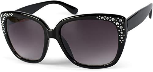 styleBREAKER Gafas de sol para damas en forma de mariposa de ojos de gato con estrás, Cat-Eye 09020110, color:Marco negro/delineado vidrio gris