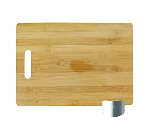 Tabla De Cortar De Cocina 34x25 cm+Protector De Dedos. Corta Con Seguridad. Tabla De Bambú Ecológica Y Resistente + Protector De Dedos, Evita Cortes