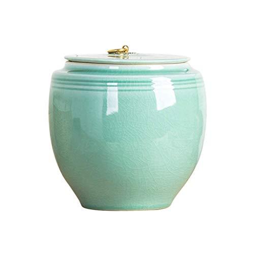 XYZMDJ Hoja de té de cerámica de Almacenamiento de arroz tarros de almacenaje casera Cocina Organización Harina Tanque de Almacenamiento de cerámica Jar Cubierta Rice (Size : 20cm)