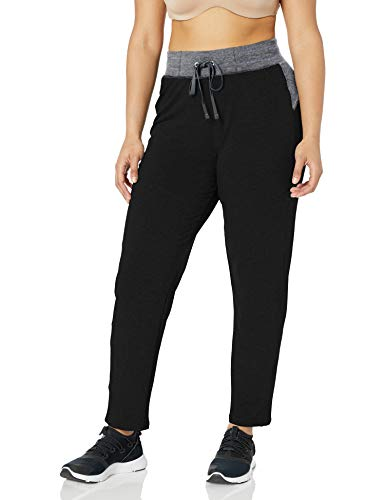 JUST MY SIZE Women's Plus Size Active French Terry Pant with Pockets, Black/Granite, 4X