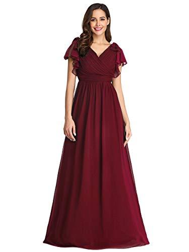 Ever-Pretty Damen Abendkleid A-Linie Kurze Ärmel elegant Festliches Kleid V Ausschnitt lang Burgund 46