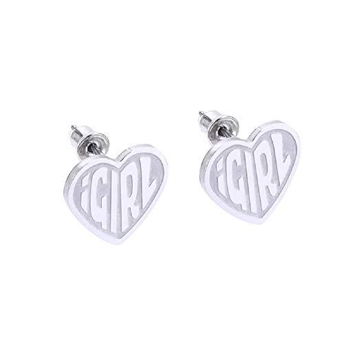 HAYOUWAY iGirl - Pendientes de tuerca de acero inoxidable con forma de corazón, regalo perfecto para mujeres y niñas (plata)