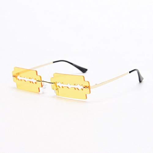 HAOMAO Gafas de Sol rectangulares sin Montura Huecas únicas Retro para Mujer Marco de aleación Amarillo Dorado